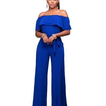 Off Shoulder Flounced Collar Tied Waist Jumpsuit