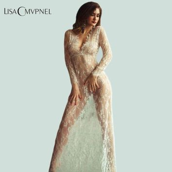 ICIKF4S Lisacmvpnel Long Section Deep V Women Nightgown Lace Hollow Long Sleeve Nightdress