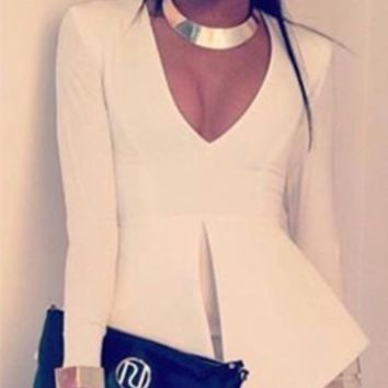 White Long Sleeve Deep V Neck Peplum Bodycon Midi Dress