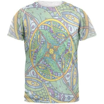 CREYCY8 Mandala Trippy Stained Glass Chameleon Mens T Shirt