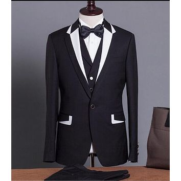 Hot 2016 Groom Tuxedos Best Man Groomsmen Men Wedding Suits Notch Lapel Performance Suit Black  White (Jacket+Pants+Tie+Vest)