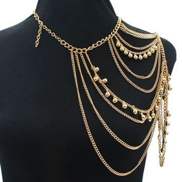 Gold Bead Drop Shoulder Harness