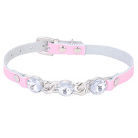 3 Big White Diamond Decorated Small Dog Collar Puppy Collar Neck Strap Genuine Leather XS S Red Pink Blue Free Shipping