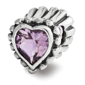 Sterling Silver and Amethyst Fluted Heart Bead Charm