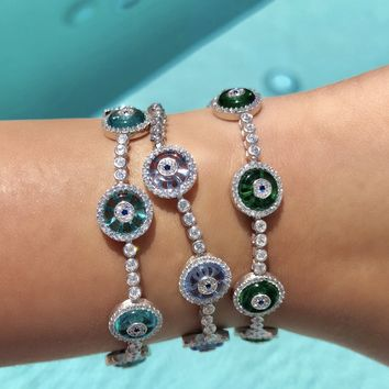 Talia mini glass evil eye tennis bracelet