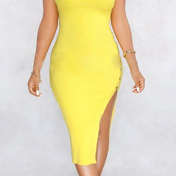 Can't Hold Back Sleeveless Scoop Neck Ribbed Side Slit Snap Bodycon Midi Dress - 5 Colors Available