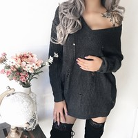 Mila Knitted Distressed Sweater Dress (CHARCOAL)