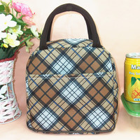 Brown Plaid Print Canvas Lunch Bag