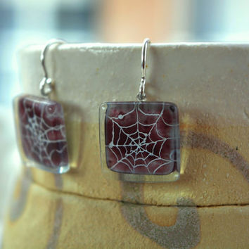 Halloween earrings - Fused glass earrings - Spider earrings - Burgundy dangle drop earrings - Glass dangly earring - Fused glass jewelry