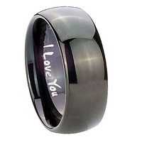 10mm I Love You Dome Black Tungsten Carbide Men's Wedding Ring