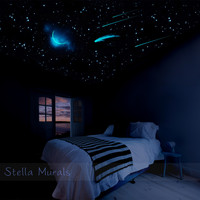 Glow in the Dark Star Ceiling | 600 - 1000 Star Sticker Base | Crescent Moon, Comet, Shooting Stars