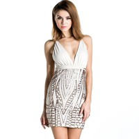 Sequin White Party Dress