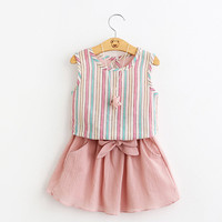 striped T-shirt + skirt little girls dresses toddler clothing sets