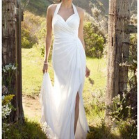 Buy NEW! Chiffon Gown with High Slit and Halter Tie Back Style WG3482  , from  for $147.08 only in Fashionwithme.com.
