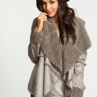Grey Furry Shearling Jacket