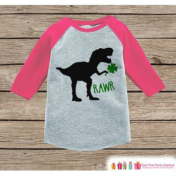 Girls St Patricks Day Outfit - Dinosaur St Paddy's Day Shirt or Onepiece - Girls Lucky Shirt - Baby, Toddler, Youth - Grey Dino Clover Shirt