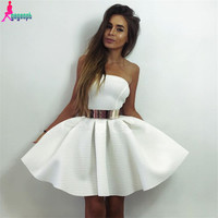 Gagaopt 2016 Women Dress Princess Dress White Strapless Waist Belt Summer Dress Party Dress Vestidos Robe Free Shipping