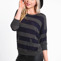 PREPPY STRIPED PULLOVER SWEATER