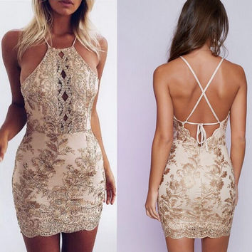 Fashion Solid Color Female Gold Thread Lace Hollow Crisscross Backless Halter Mini Dress