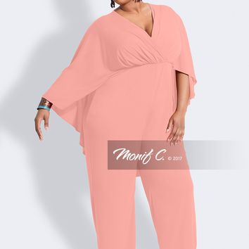 Tasha Cape Jumpsuit - Blush