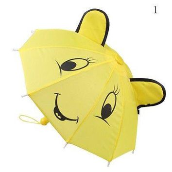 Hot Christmas Gift Yellow Mini Doll Umbrella Fit 18inch American Girl Doll Accessory