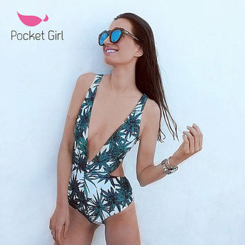 2016 Sexy One Piece Swimsuit Strappy Biquini High Waist Swimwear Women Cut Out Bodysuit Leotard Bathing Suits Monokinis Trikini