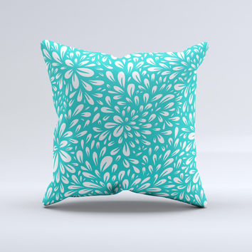 Teal and White Floral Sprout Ink-Fuzed Decorative Throw Pillow