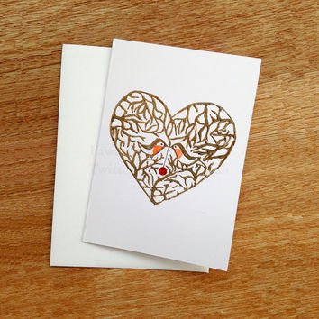 Love Birds, Handmade, Blank Card, Robin Bird, Valentines Card, Bird Lovers, uk