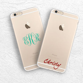 iPhone 6 5s, iPhone 6 plus transparent soft rubber case, ultra slim clear monogram name case, personalized custom name case for Samsung S6
