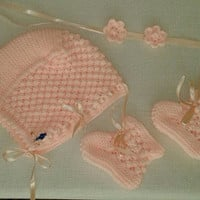 Hand knitted hat/booties/knitting/baby photo prop/baby set/hat and booties/Christening Bonnet/newborn/baby boy/baby girl/babies/babyshower