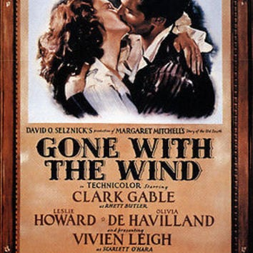 selznick's GONE WITH THE WIND movie poster vivian LEIGH clark GABLE 24x36