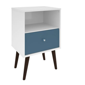 Mid Century - Modern Night stand & 1.0 w/ 1 Cubby Space & 1 Drawer w/ Solid Wood Legs-White and Aqua Blue