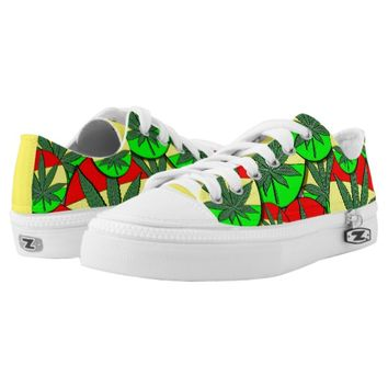 Cartoon rasta weed jamiacan flag pattern Low-Top sneakers