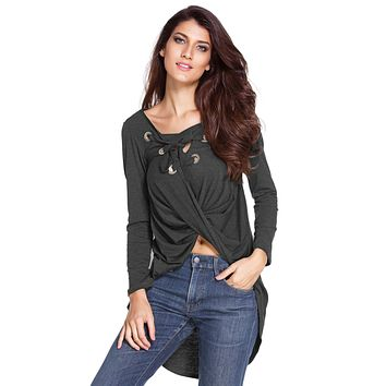 Dark Grey Lace Up Long Sleeve Ruched Pullover Shirt