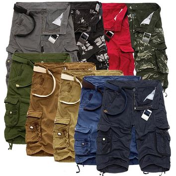 Fashion Plaid Beach Shorts Mens Casual Camo Camouflage Shorts Military Short Pants Male Cargo Overalls Homme Naroface