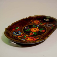 Vintage BATEA Bowl Tray Toleware Flowers Mexican Folk Art Wood Rustic  Hand-painted Hand Carved
