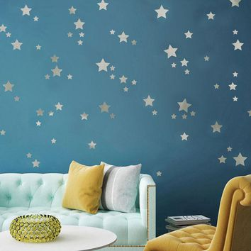 Modern Silver Stars Decoration Wall Stickers Art Wall Bedroom Kids Rooms Wall Decal Home Decor Pegatinas De Pared
