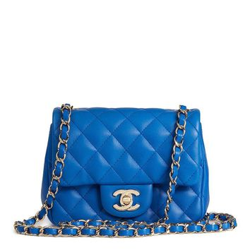 CHANEL BLUE QUILTED LAMBSKIN MINI FLAP BAG HB1521