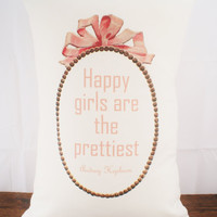 Happy Girls Are The Prettiest - Audrey Hepburn - Hemp and Organic Cotton Cushion Cover - 12x18