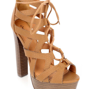 Camel Snake Print Platform Chunky High Heels Faux Leather
