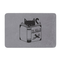 "Tobe Fonseca ""To Kill A Mockingbird"" Gray Cat Memory Foam Bath Mat"