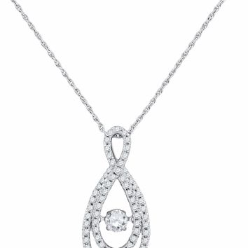 10kt White Gold Women's Round Diamond Moving Twinkle Solitaire Teardrop Pendant 3-4 Cttw - FREE Shipping (US/CAN)