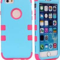 "iPhone 6 case, iPhone 6 4.7"" (2014 version) case, Magicsky 3 in 1 Combo Tuff Hybrid Shockproof Case Cover Protector for iPhone 6 (2014 version), 1 Pack - Retail Packaging- Hot Pink/Sky Blue"