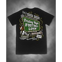 Sweet Thing Friday Night Football Lovin Cheerin Girl Black Girlie Bright T-Shirt