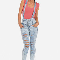 Cute Jeans-Trendy High Waist Jeans-Light denim suspender jeans