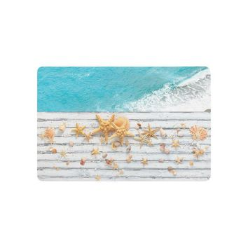 Autumn Fall welcome door mat doormat Warm Tour Beach Theme Anti-slip  Home Decor Starfish Against Blue Sea Indoor Outdoor Entrance  Rubber Backing AT_76_7