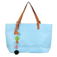 "JAVOedge Vintage Candy Color Large Travel Tote Bag with Zipper Closure w/ Bonus Bag (18.5"" L x 5"" W x 10 H"") (Turquoise)"