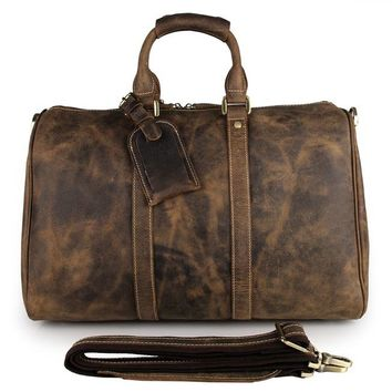 J.M.D Handcraft Vintage Crazy Horse Leather Unique Tote Luggage Travel Bags 7077B-1