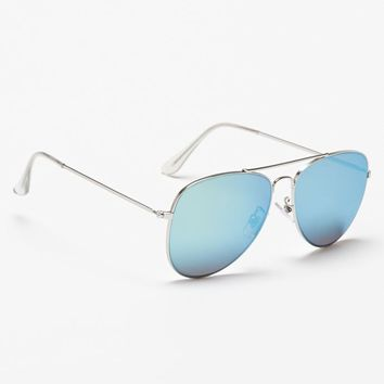 With Love From CA Sea Blue Mirror Aviator Sunglasses - Womens Sunglasses - Silver - One
