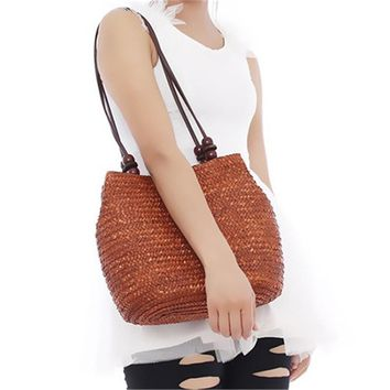 Women Retro Wooden Beads Beach Shoulder Bag trend bolsas femininas Straw Woven Bags Tote Handbag RD641874